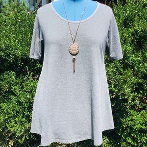 LulaRoe Large Perfect T Shirt Heather Grey Stripe